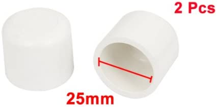 uxcell 25mm Inner Diameter White PVC Hose Tube End Fitting Adapter Caps 2 Pcs
