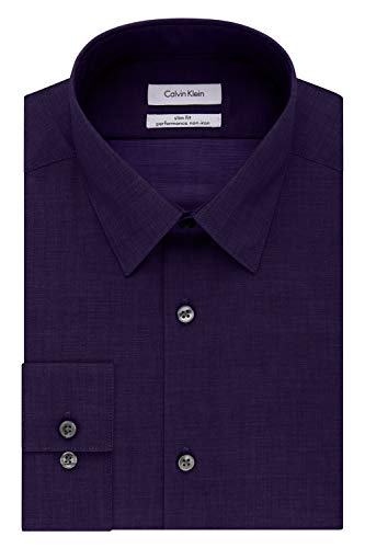 Calvin Klein Men's Dress Shirt Slim Fit Non Iron Herringbone, Purple Dusk, 17.5
