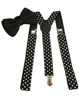 Jubination Men's Combo of Black Bow and Polka Dot Suspender