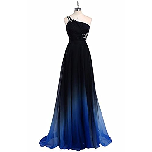 Verabeauty Womens Gradient Color Beaded Prom Dress Long Evening Formal Gowns Blue&Black Size 10