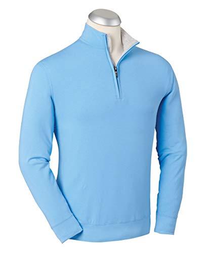 - Bobby Jones Liquid Cotton Stretch Golf Pullover - Men's 1/4 Zip Pullover Golf Apparel Sky Blue