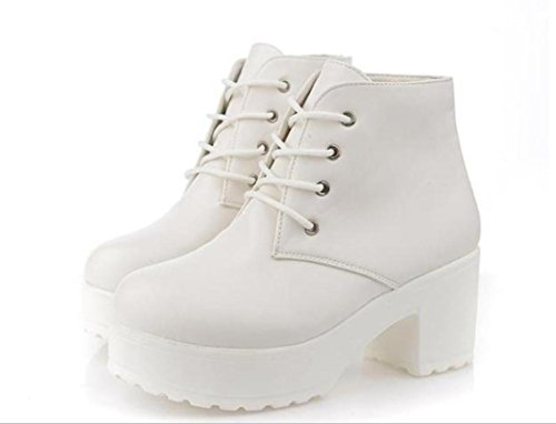 Scarpe YCMDM New Spring singole PU artificiale Women Shoes tacco alto scarpe impermeabili , white , 35