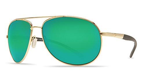 Costa Del Mar Wingman 580P Polarized Sunglasses in Gold & Green Mirror - Del Mar Costa Wingman