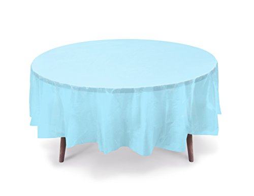 """5 PACK, 84"""" Light Blue Round Plastic Table Cover, Plastic Table Cloth Reusable (PEVA) (Light Blue)"""