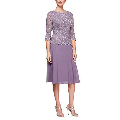 Alex Evenings Women's Plus Size Tea-Length Lace Mock Dress, ICY Orchid, 18W