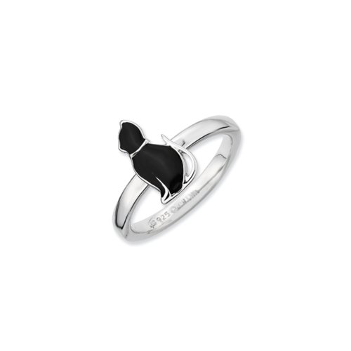 Sterling Silver Stackable Black Enameled Side Kitty Ring Size 10 (Kitty Enameled)