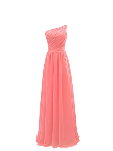 [Women Long One Shoulder Pleated Chiffon Prom Gown Bridesmaid Dresses Coral L] (Masquerade Dresses For Sale)