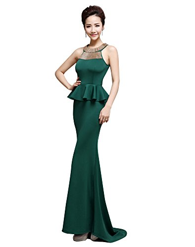 Green Metallics Sweep Bodycon Dresses Train Satin Peplum Beauty Emily Tanks qzwIzBO
