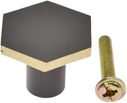 21x34mm,4 Pack Modern Solid Brass Kitchen Cabinet Knobs Handles Black Hexagon Dresser Drawer Cupboard Pulls Handles Furniture Hardware 4Pack