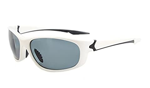 Eyekepper Polycarbonate Polarized Sport Sunglasses For Men Women baseball Running Fishing Driving Golf Softball Hiking TR90 Unbreakable White Frame Grey (White Out Contact Lens)