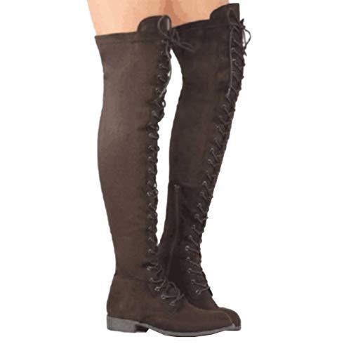 Mujer Invierno Botas Moda Alto Respirable o Encaje Botas Plano Cruz Planas Elegante S Botas Color Zapatos Oto f1gfSOqrw
