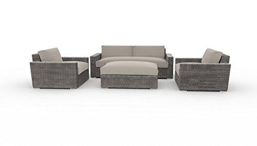 Toja Turo Outdoor Patio Sofa Set (4 pcs) | Wicker Rattan Body with Sunbrella Cushions (Full Round Wicker/Cast Ash) (Wicker Cushion Round With Big Chair)