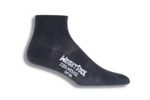 - Wrightsock Coolmesh II Quarter Running Socks - 2 Pack, Black, Large