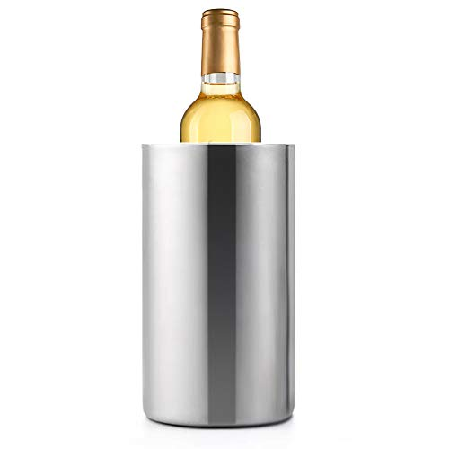 Jolitac Wine Chiller Bucket, Stainless Steel Double Wall Wine Cooler Bucket, Keeps Cold for Hours Wine Bottle Cooler Chiller Insulated Champagne Beer Ice Bucket (1 PC) ()