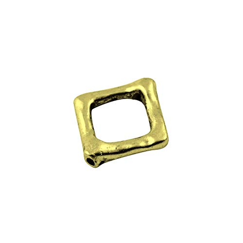 Packet 20x Antique Bronze Tibetan Square Bead Frames 12x10mm Y14370 (Charming Beads)