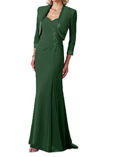 Elegant Dunkel Brautmutterkleider Jaket Chiffon Charmant Gruen lang Damen Abendkleider Partykleider 5x6nwAZq
