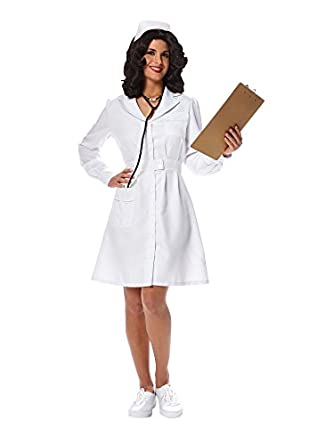 1940s Costumes- WW2, Nurse, Pinup, Rosie the Riveter Womens Vintage Nurse Costume L $30.46 AT vintagedancer.com