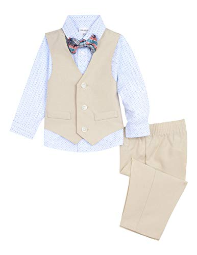Van Heusen Baby Boys 4-Piece Formal Dress Up Vest Set, Print Cement, 3/6 Months