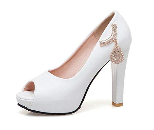 White 43 Verano Toe Zapatos Super Tamaño Mujeres Sandalias Plataforma Primavera Tacón Y 33 Glter Peep q6gxYwp
