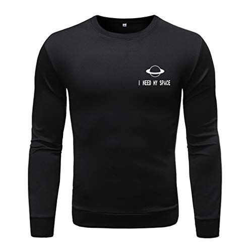 Men's Fashion Long-Sleeved Round Neck Solid Color Printing Sweater Tops Blouse, MmNote