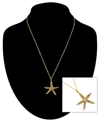 Pendant Necklace Starfish Nautical Gold Tone Charm Necklace For Women