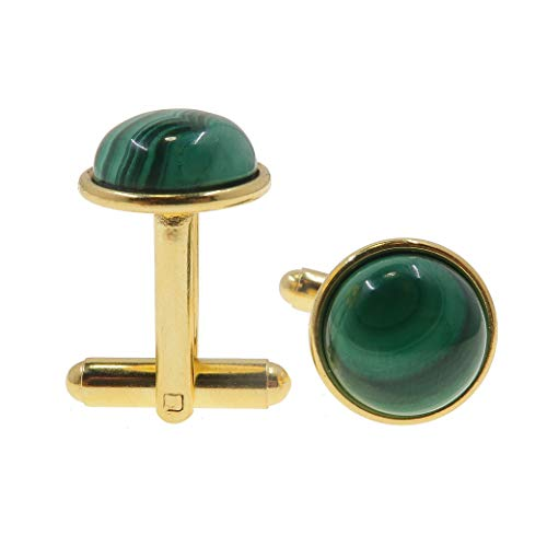 SatinCrystals Malachite Cufflinks 12mm Boutique Genuine Green Gemstone Polished Circle Pair B01 (Gold-Plated-Brass)