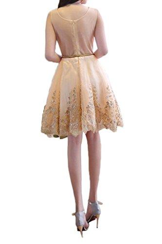 ivyd ressing Mujer a favoritos de línea redonda cuello Cinturón Prom vestido corto Fiesta Vestido para vestido de noche champán