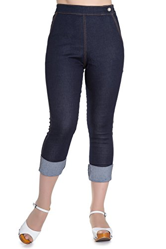 Vintage Pedal Pusher (Hell Bunny Ronnie Denim Jeans 50s Vintage Retro Capri Trousers 3/4 Pedal Pushers - Navy Blue (S))
