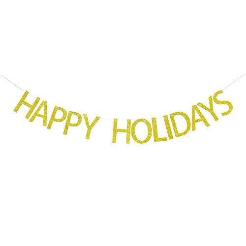 Happy Holidays Gold Glitter Banner   Christmas Banner Garland   Christmas Decorations   Christmas Party Decor   Holiday Photo Prop   Holiday Decorations
