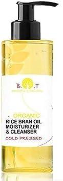 Aceite Ecológico de Salvado de Arroz Prensado en Frío y Vitamina E Anti Edad - Aceite Bébé y Piel Seca - Desmaquillante Waterproof 100% Natural 200 ml