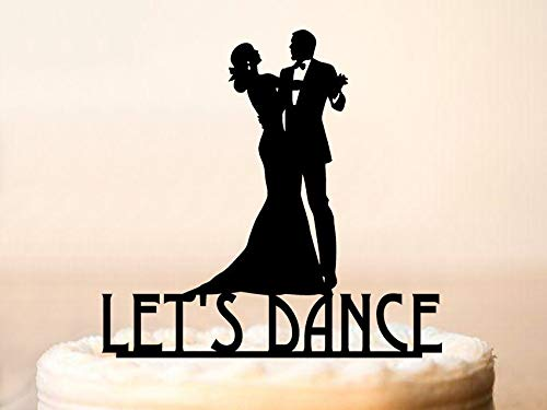 Dance Cake Topper,Wedding Silhouette Cake Topper,Bride And Groom Dancing Cake Topper,Funny Dancing Cake Topper,Silhouette Dancing ()