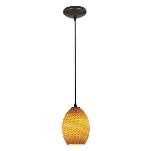 Brandy FireBird Glass Pendant - 1-Light Pendant - Cord - Oil Rubbed Bronze Finish - Amber Firebird Glass Shade