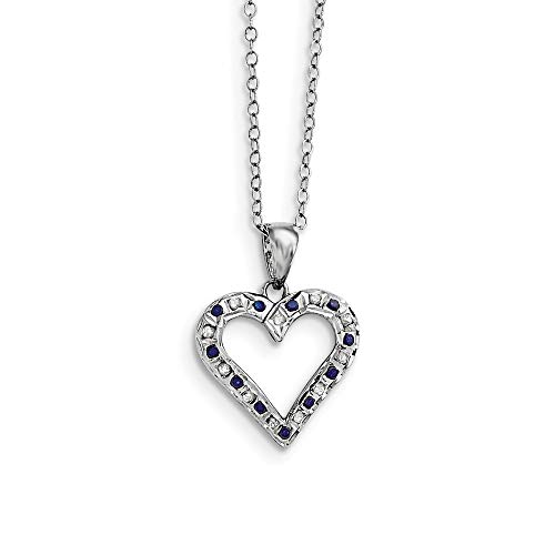 (925 Sterling Silver Diamond Mystique Platinum Plated Sapphire 18 Inch Heart Chain Necklace Pendant Charm Infinity Gemstone Fine Jewelry Gifts For Women For Her)