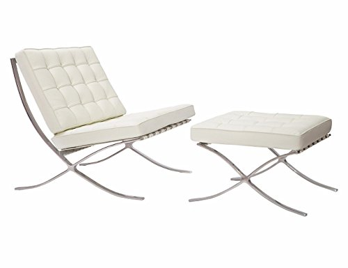 (EMODERN FURNITURE eMod Barcelona Chair & Ottoman Reproduction Italian Leather White)