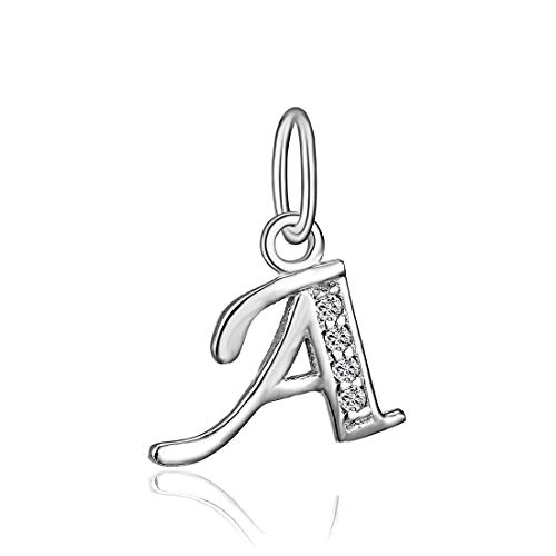 Initial Silver Pendant Sterling (BORUO 925 Sterling Silver Cubic Zirconia A-Z Initial Letters Alphabet Dangling Charms Pendant (Letter-A))