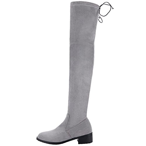 Grey Boots All Over And Match Nubuck Flat Women knee Sjjh Size With Large Materail the n6a7BcP