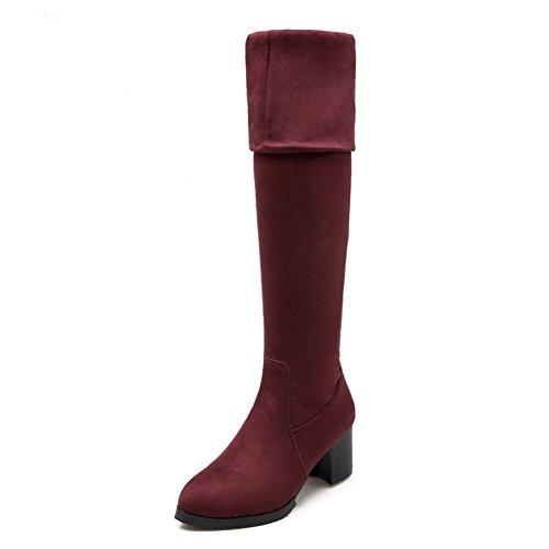 BalaMasa Womens Chunky Heels Glass Diamond Foldable Imitated Suede Boots Claret FFxEFdw