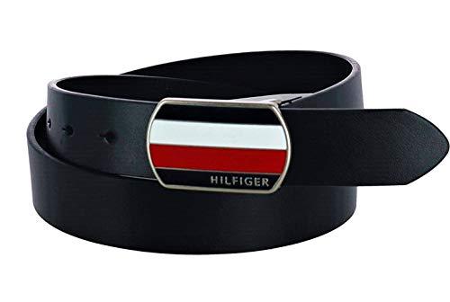 Tommy Hilfiger Men's Bridle Belt with Plaque Logo Buckle, 36, Black (Logo Plaque Buckle Belt)