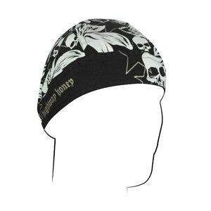 ZANheadgear Cotton Flydanna with Highway Honey Flowers and Skulls Design (Multi Color, One Size)
