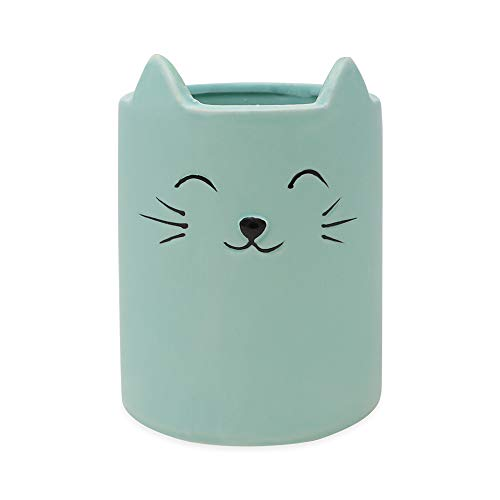 Isaac Jacobs Blue Ceramic Cat Makeup Brush Holder, Multi-Purpose Cup Organizer. Bathroom, Kitchen, Bedroom, Office Décor (Single Cup, Pastel Blue)