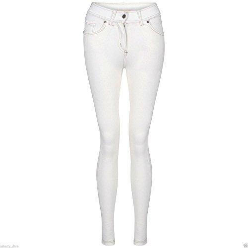 Nuovo Da Donna Fashion Coloured Skinny Jeggings Leggings Plus Dimensioni 8–18 White