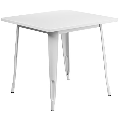 Flash Furniture 31.5'' Square White Metal Indoor-Outdoor Table (Dining Table White Outdoor Metal)