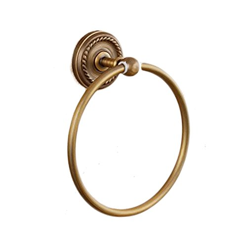 Beelee Engraving Bath Hardware Accessory Brass Material Towel Ring Holder Bathroom Wall Mounted Concealed Screws Towel Hanger Shower Accessories Holder Towel Circle Holder (Antique Brass)