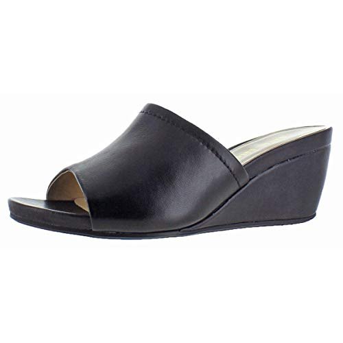 Leather Platforms Lambskin (David Tate Women's Mint Lambskin Open-Toe Wedge Slide Sandal Black Size 9.5)
