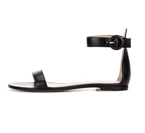 EDEFS Womens Open Toe Flats Ankle Strap Sandals Elegant Summer Shoes Black oKC2Ct