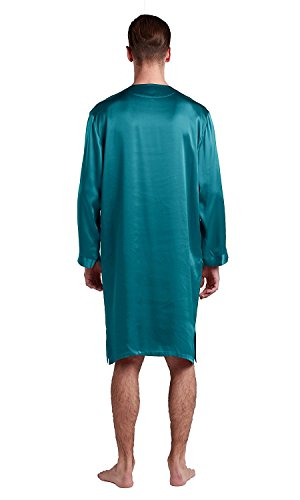 LilySilk Silk Nightshirts For Men Charmeuse Long Sleeve 22 Momme Pure 100 Mulberry Silk Robe Soft Dark Teal X-Large by LilySilk (Image #2)