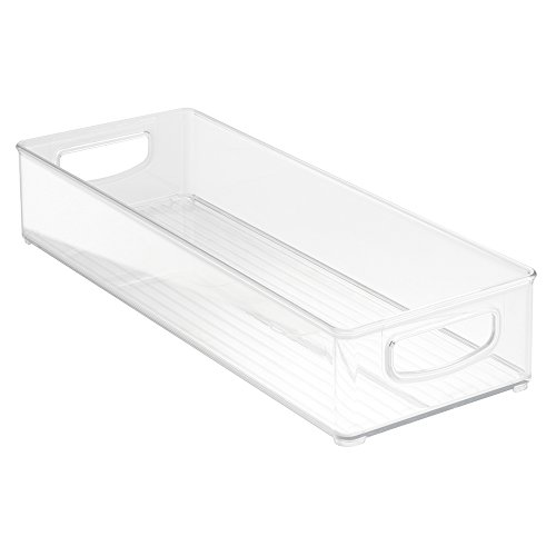 InterDesign Home Kitchen Organizer Bin for Pantry, Refrigerator, Freezer & Storage Cabinet 16' x 6' x 3', Clear