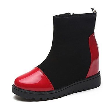 Boots Red RTRY For Round Flat Casual US8 Heel Fashion Fall Women'S White Pu Shoes Toe UK6 Boots CN39 EU39 Zipper q7w7rX6