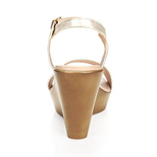 Allegra K Kvinna Strass Dekor Kil Sandaler Guld
