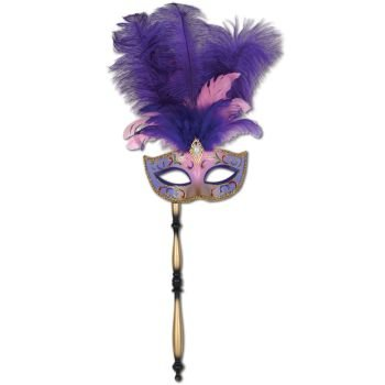 Beistle 54203 Feathered Mask with - Mask Feather Green